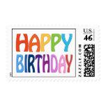 Happy Birthday - Happy Colourful Post Stamp