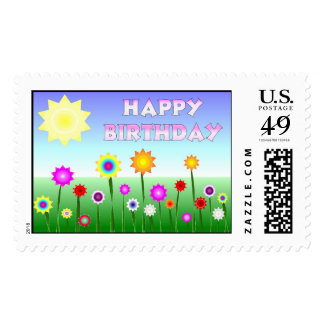 Happy Birthday Happy Flowers Postage