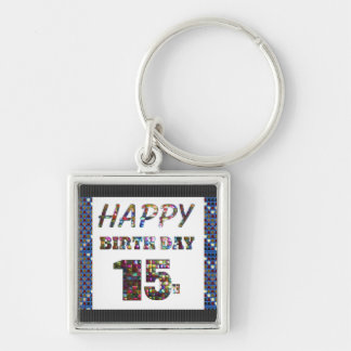 happy birthday happybirthday  designs Silver-Colored square keychain