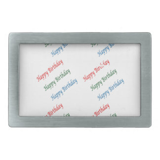 HAPPY BIRTHDAY HappyBirthday Script Colorful Light Rectangular Belt Buckle