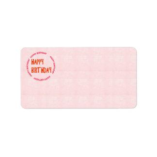HAPPY Birthday HappyBIRTHDAY seal emblem crystal Label