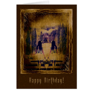 Happy Birthday  Haunting Spooky Girls Card