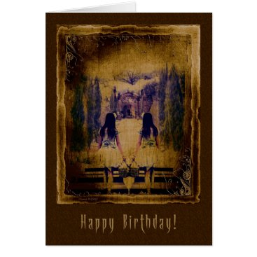 xgdesignsnyc Happy Birthday  Haunting Spooky Girls Card