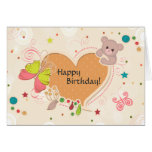 Happy Birthday - Heart Bear Butterfly Greeting Cards