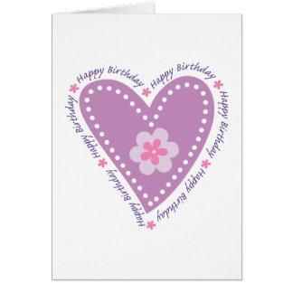 Happy Birthday Heart & Flower Card