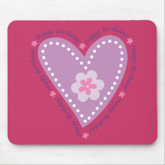 Happy Birthday Heart & Flower Mouse Pad