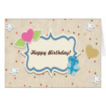 Happy Birthday - Heart Lace Present Greeting Card