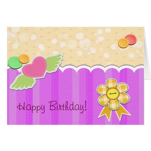 Happy Birthday - Heart Wings Buttons Ribbons Greeting Card