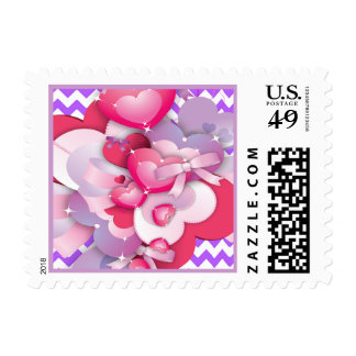 Happy Birthday Hearts and Bows Postage Stamp
