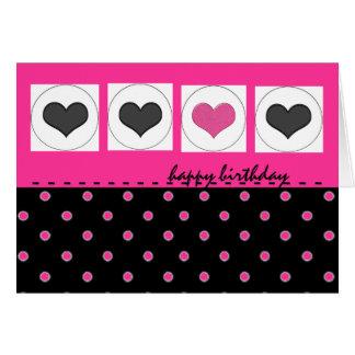 Happy Birthday Hearts and Polka Dots Pink Card
