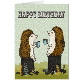 Happy Birthday - Hedgehog Tea Party Greeting Card