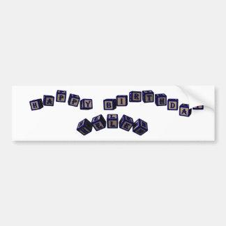 Happy Birthday Helen toy blocks in blue. Bumper Sticker