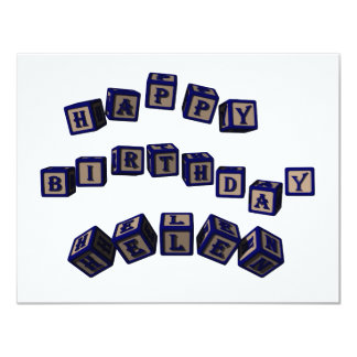 Happy Birthday Helen toy blocks in blue. Card