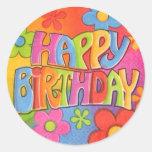 Happy Birthday Hippie Stickers
