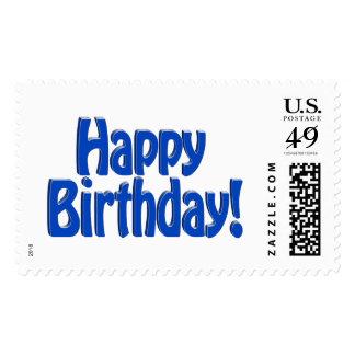 Happy Birthday HOBO Text - Blue Postage Stamp