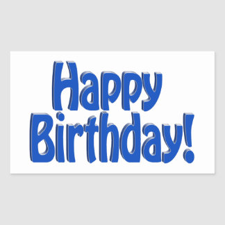 Happy Birthday HOBO Text - Blue Rectangular Sticker