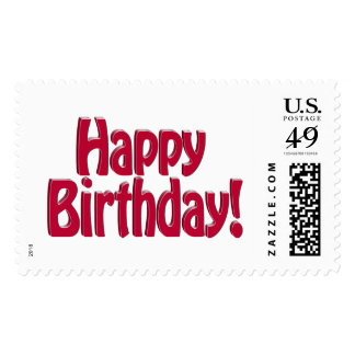 Happy Birthday HOBO Text - Red Postage Stamp