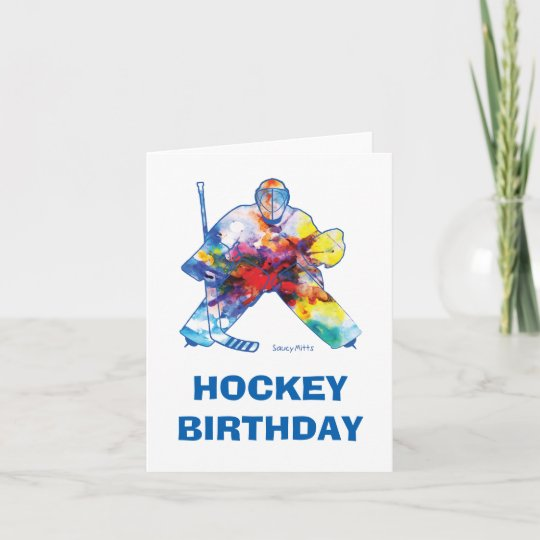 Happy Birthday Hockey Goalie Watercolor Card Zazzle