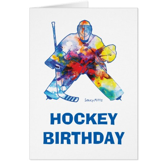 Happy Birthday Hockey Goalie Watercolor Card