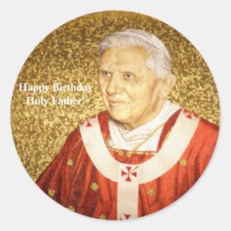 Happy Birthday Holy Father B16 Classic Round Sticker