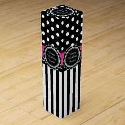Happy Birthday Hot Pink and Black Retro Polka Dots Wine Box