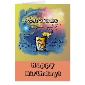 Happy Birthday Humor - Screwdriver Recipe Card