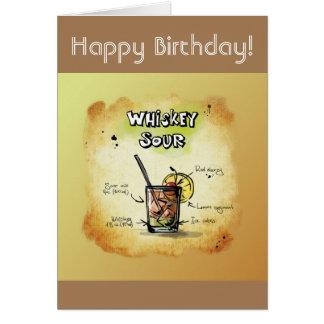 Happy Birthday Humor - Whiskey Sour Recipe Card