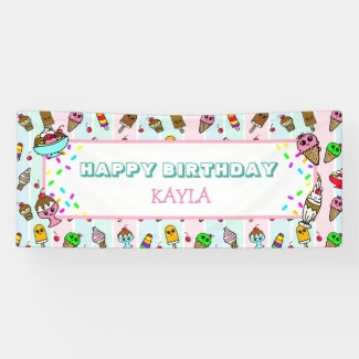 Happy Birthday Ice Cream and Sprinkles Birthday Banner
