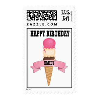 Happy Birthday Ice Cream Cone Postage