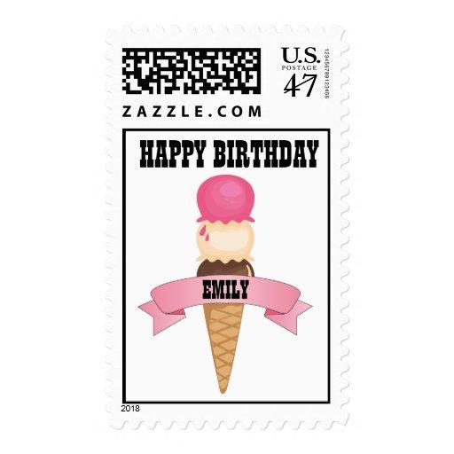 Happy Birthday Ice Cream Cone Postage Stamp