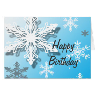 Happy Birthday Icy Snow Greeting Card