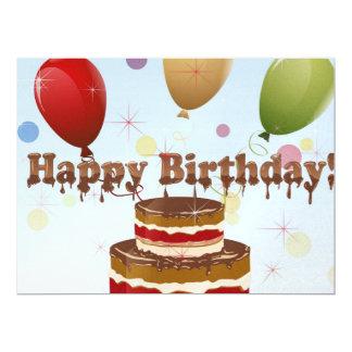 "Happy birthday illustration 6.5"" x 8.75"" invitation card"