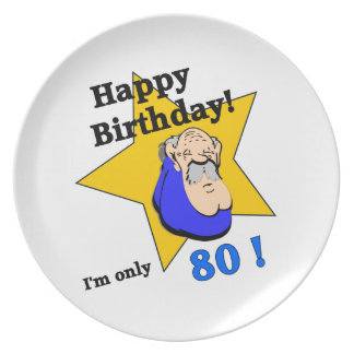 Happy Birthday - I'm ONLY 80.png Dinner Plate