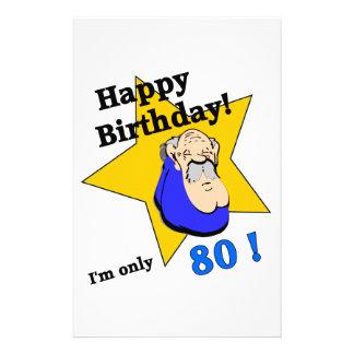 Happy Birthday - I'm ONLY 80.png Custom Stationery