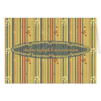 Happy Birthday in Czech, Stripes and Flowers Card
