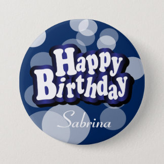 Happy Birthday in Dark Blue Bokeh Pinback Button