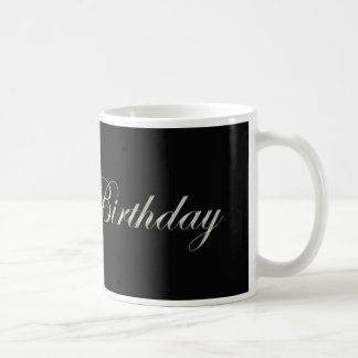 happy birthday in fancy letters on black classic white coffee mug