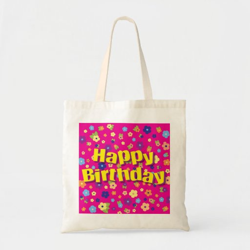 Happy Birthday in Flowers Budget Tote Bag