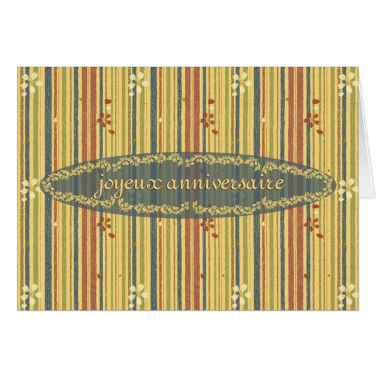 Happy Birthday in French, Stripes and Flowers Card