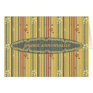 Happy Birthday in French, Stripes and Flowers Greeting Card