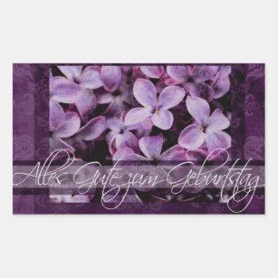happy birthday in german lilac blossoms rectangular sticker