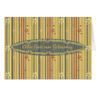 Happy Birthday in German, Stripes and Flowers Greeting Card