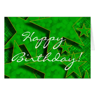 Happy Birthday in Green Stars Card