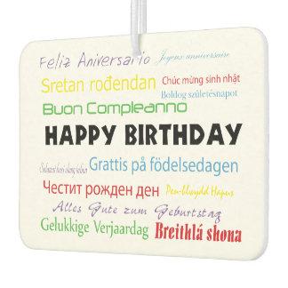 Happy Birthday in Many Languages Air Freshener