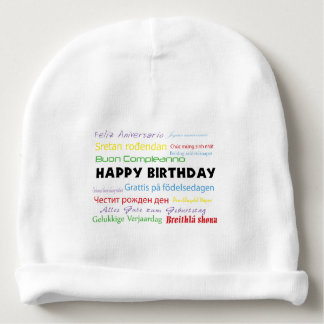 Happy Birthday in Many Languages Baby Beanie