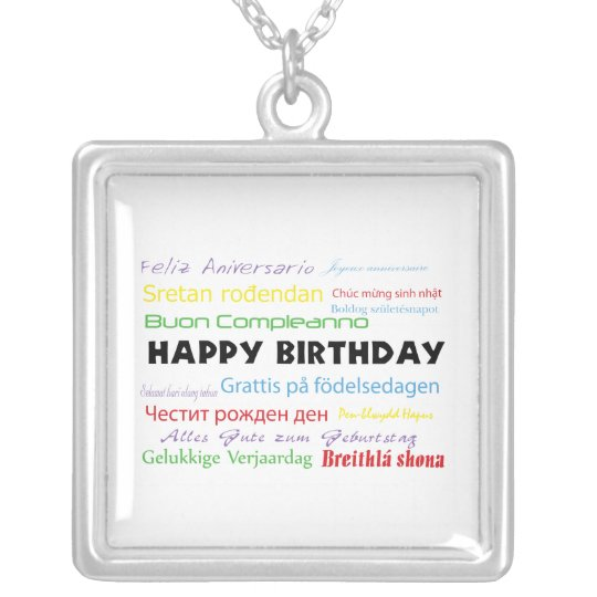 Happy Birthday in Many Languages Necklace