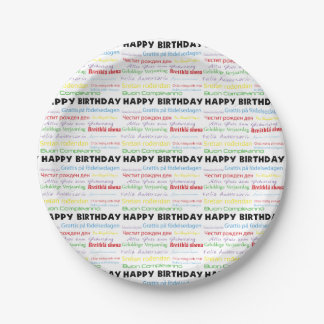 Happy Birthday in Many Languages Paper Plate