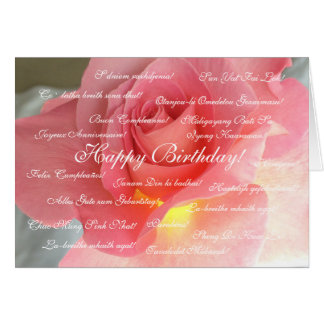 Happy Birthday in many languages Stationery Note Card