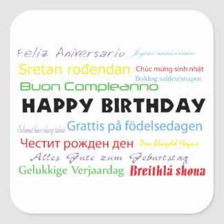 Happy Birthday in Many Languages Sticker