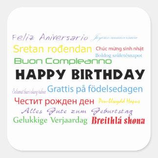 Happy Birthday in Many Languages Sticker